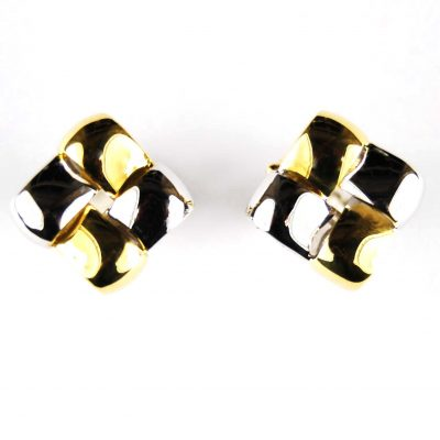 18 Carat Two-Colour Gold Earrings