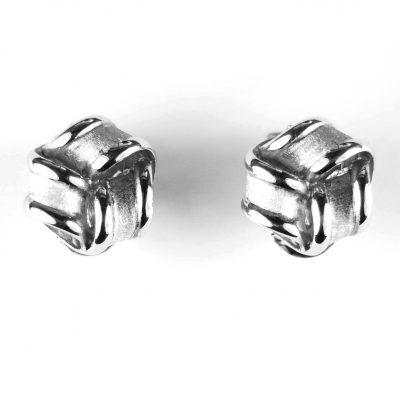 9 Carat White Gold Triple Knot Earrings