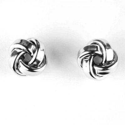 9 Carat White Gold Knot Earrings
