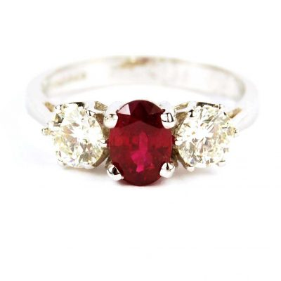 Three Stone Ruby & Diamond Ring