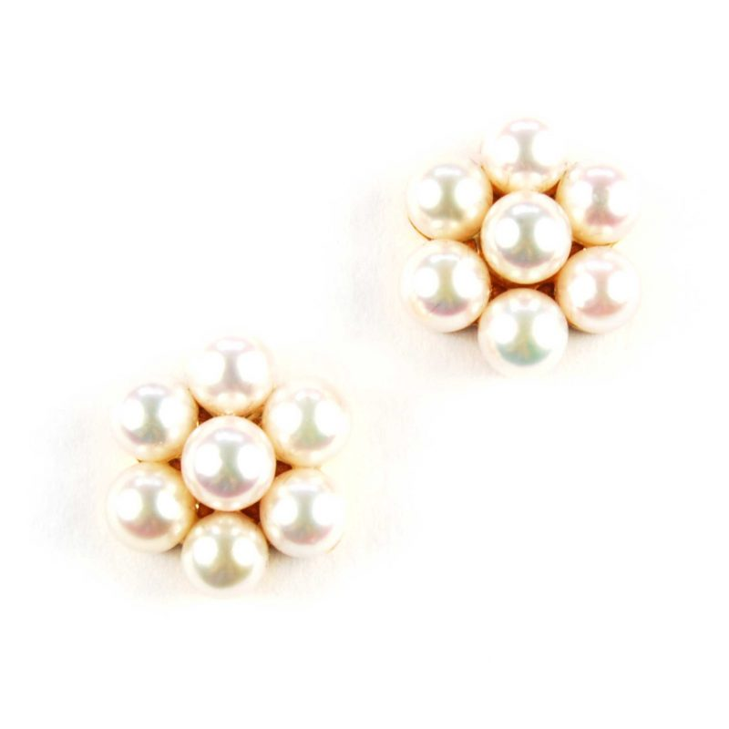 Cutured Pearl Cluster Earrings