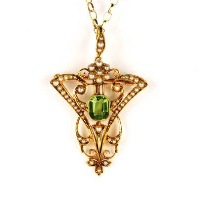 Art Nouveau Peridot & Pearl Pendant/Brooch