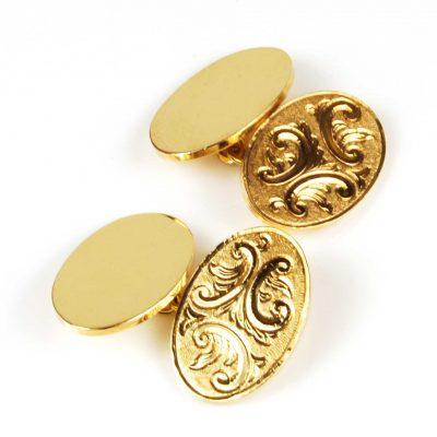 9 Carat Yellow Gold Engraved Cufflinks