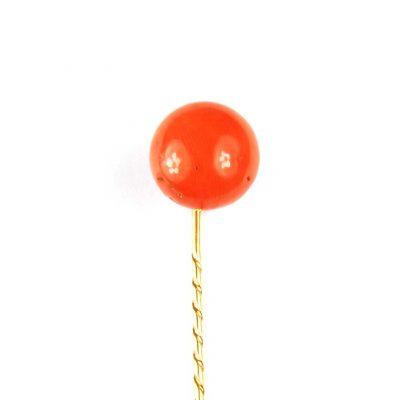 Victorian Coral Button Tie Pin