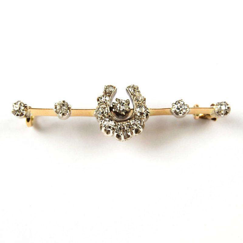 Edwardian Diamond Set Horseshoe Bar Brooch/Stock Pin