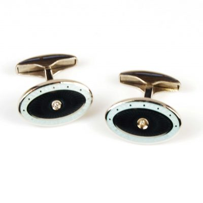 Sterling Silver Enamel & Diamond Set Oval Cufflinks