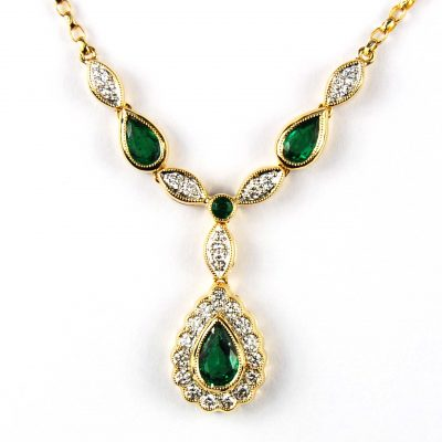 Emerald and Diamond Set Necklace