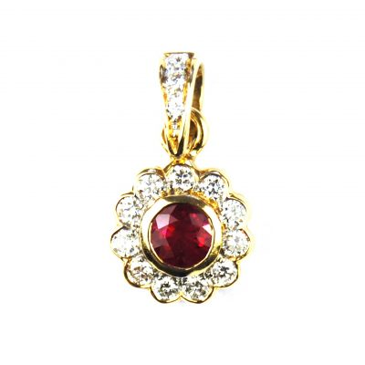 Ruby & Diamond Cluster Pendant