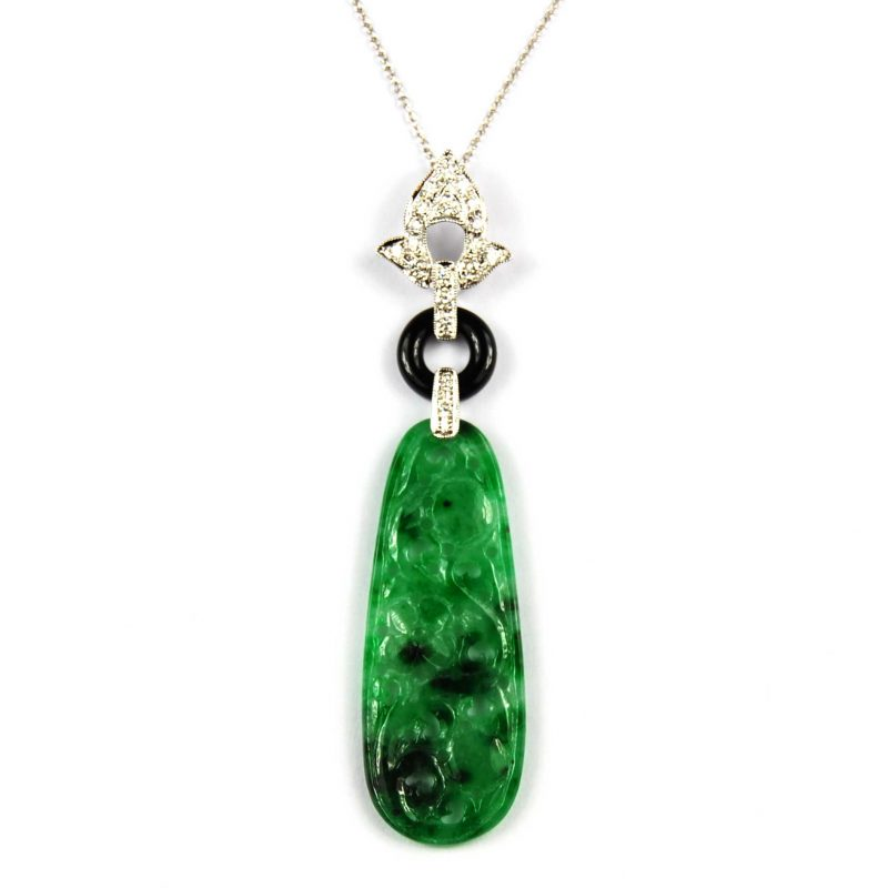Art Deco Design Jadeite,Diamond and Onyx Pendant