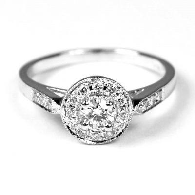 Art Deco Design Diamond Cluster Ring