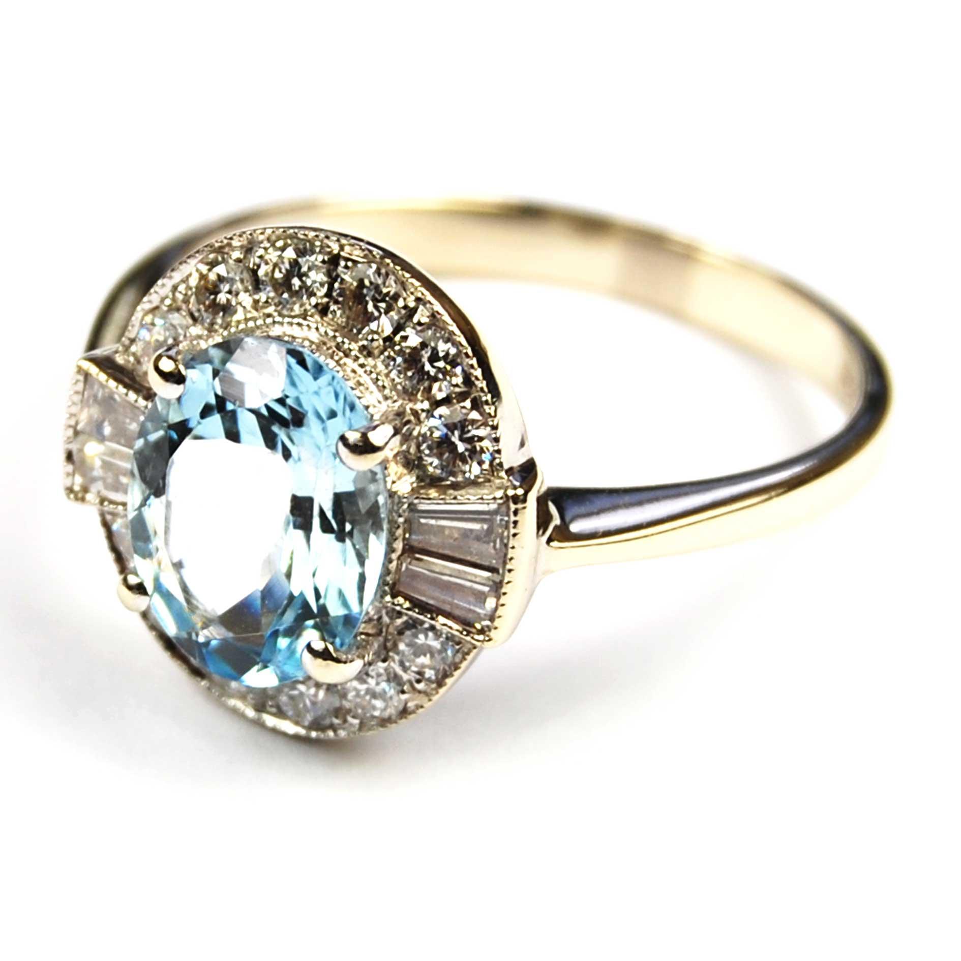 Aquamarine & Diamond Cluster Ring
