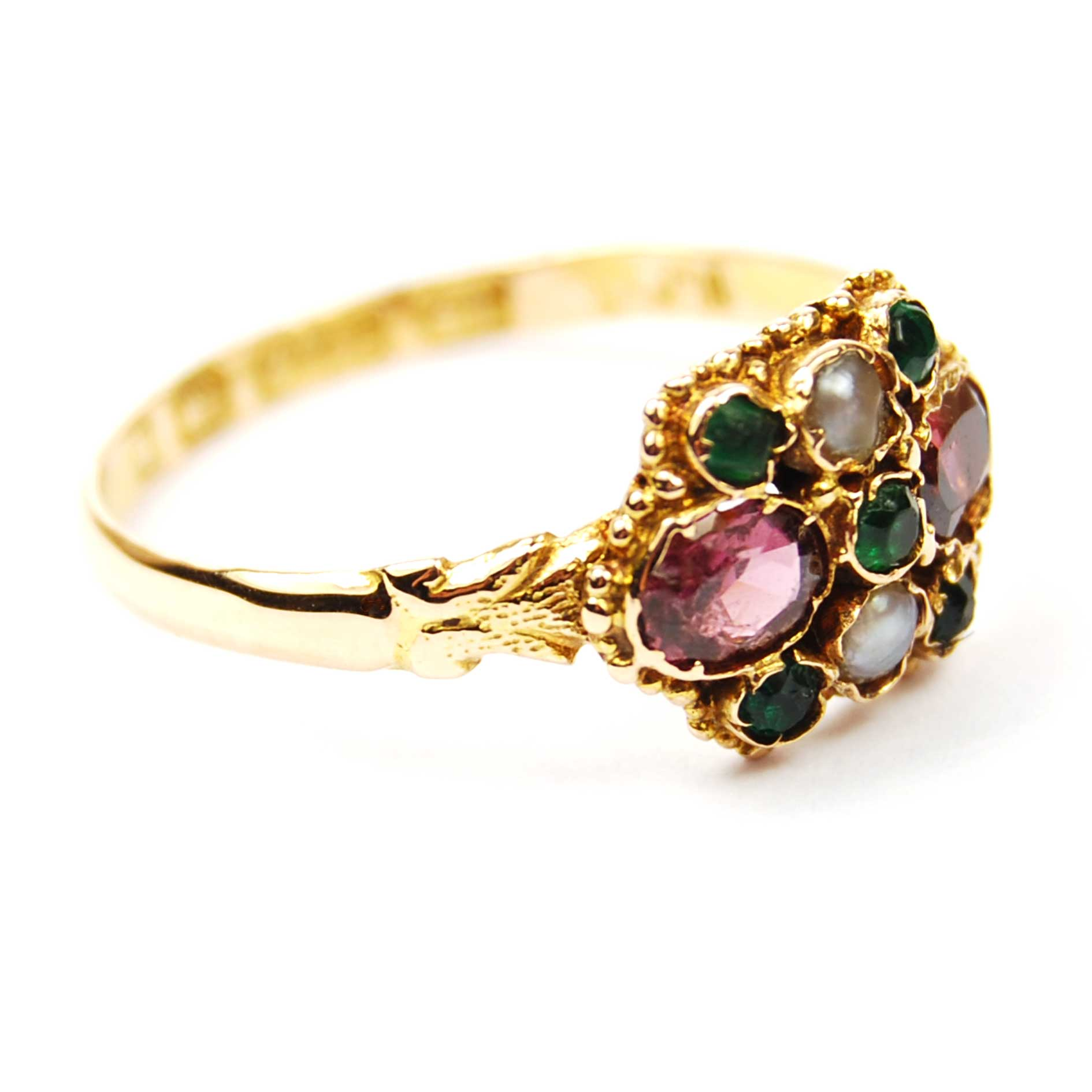 Victorian Almandine Garnet,Emerald & Pearl Ring