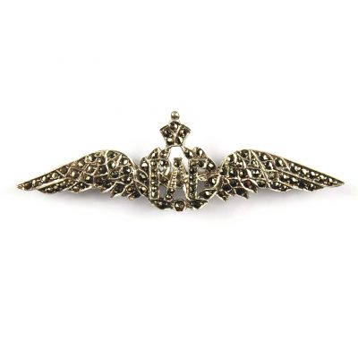 Silver & Marcasite Set RAF Wings Sweetheart Brooch
