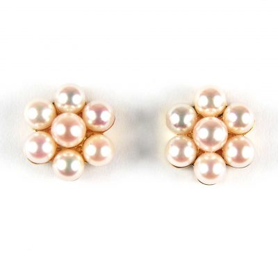 Cultured Pearl Cluster Stud Earrings