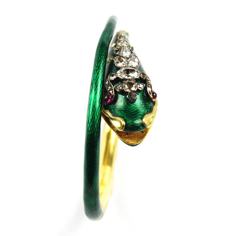 Victorian Green Enamelled Serpent Bangle