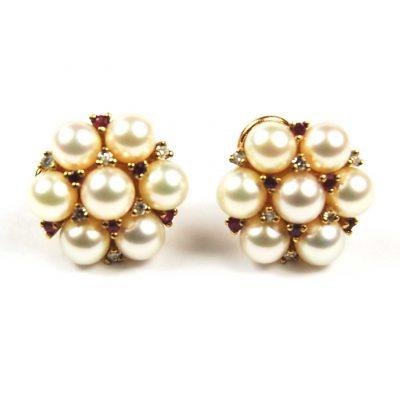 Cultured Pearl,Ruby & Diamond Earrings