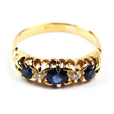 Sapphire & Diamond Five Stone Ring