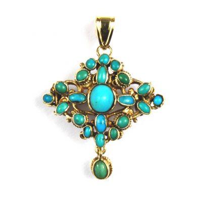 Antique Bohemian Turquoise Brooch/Pendant