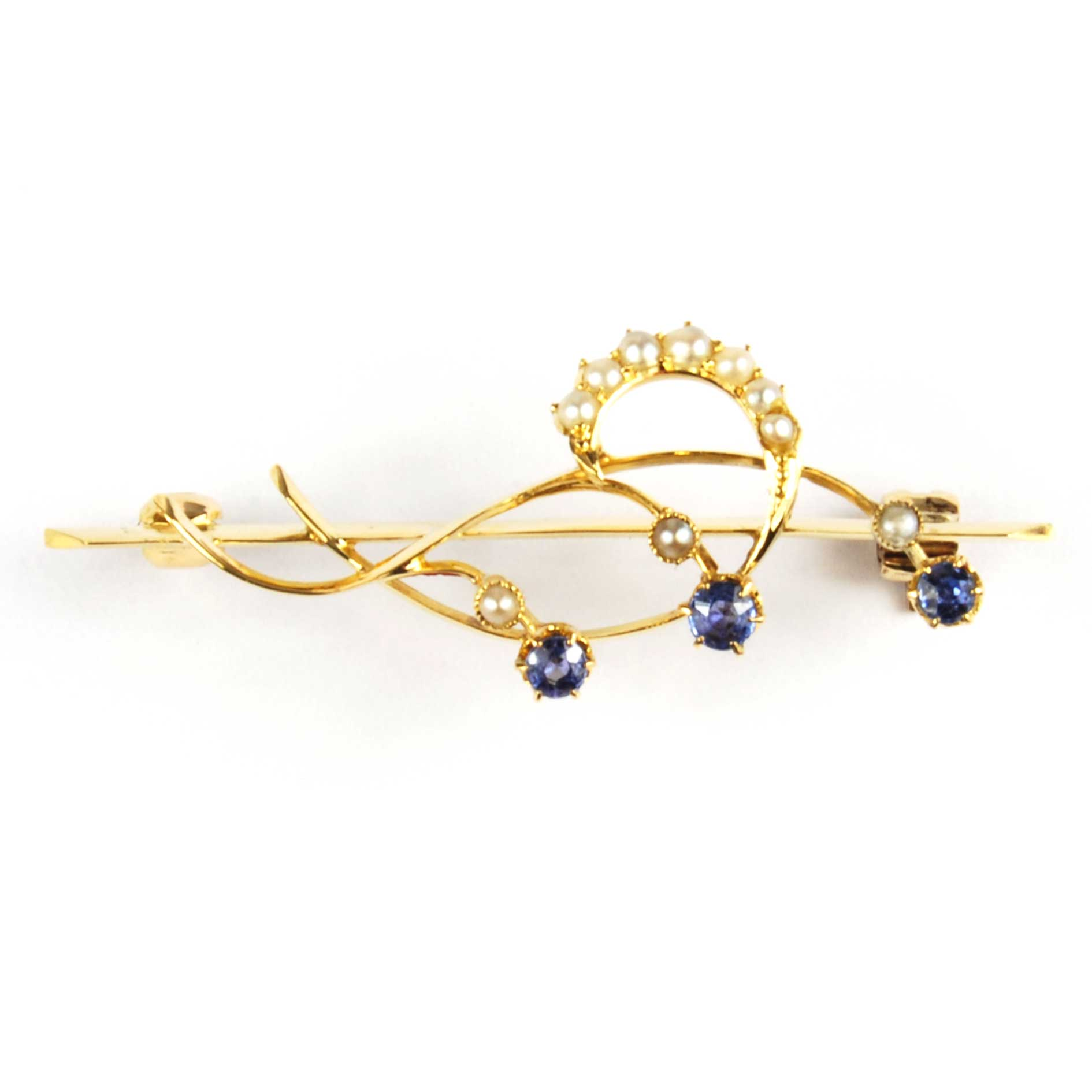 Antique Sapphire & Pearl Brooch