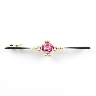Pink Topaz & Pearl Bar Brooch