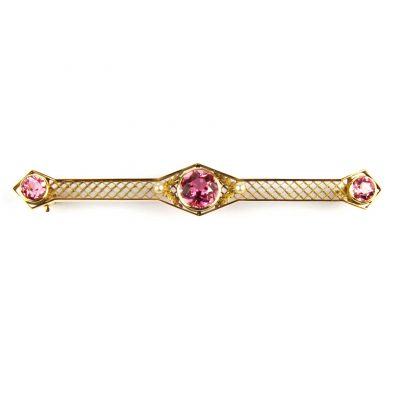 Pink Topaz Bar Brooch