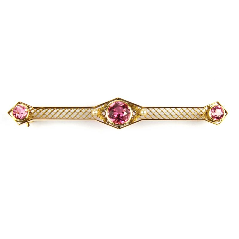Pink Topaz Bar Brooch