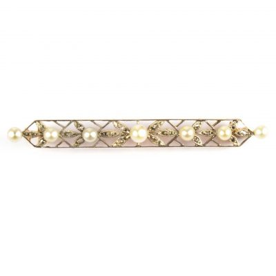 Edwardian Diamond & Pearl Bar Brooch