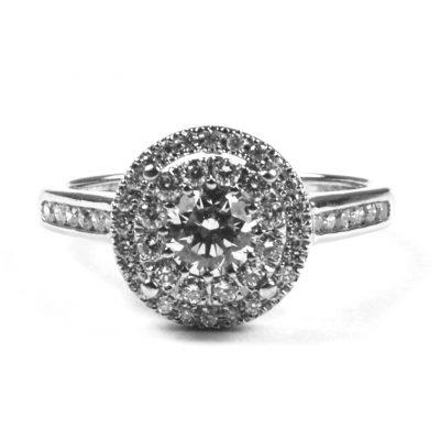 Diamond Set Halo Cluster Ring