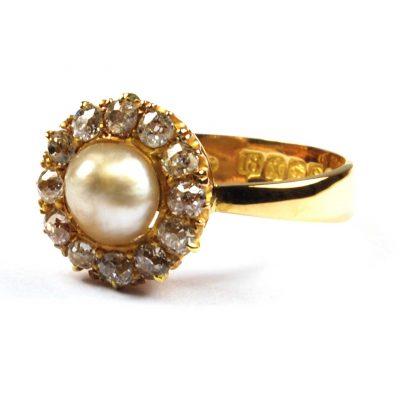 Pearl & Diamond Cluster Ring