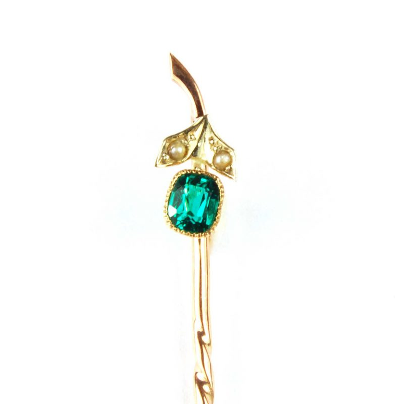 Antique Emerald & Diamond Set Tie Pin