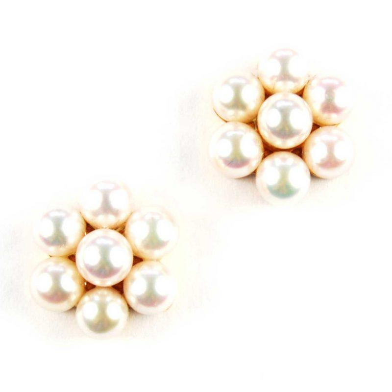 Cultured Pearl Cluster Stud Earrings