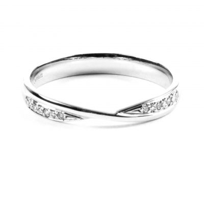 Diamond Set Platinum Half Eternity Ring