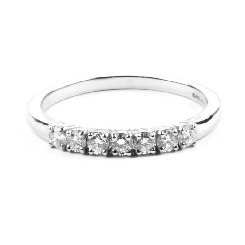 Diamond Set Platinum Half Eternity Ring
