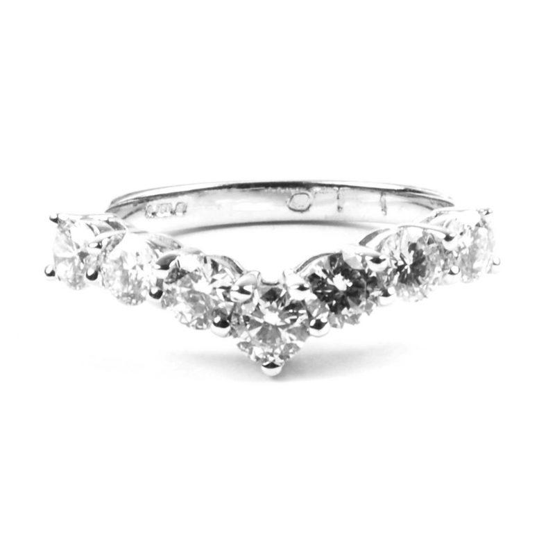 Diamond Set V-Shaped Eternity Ring