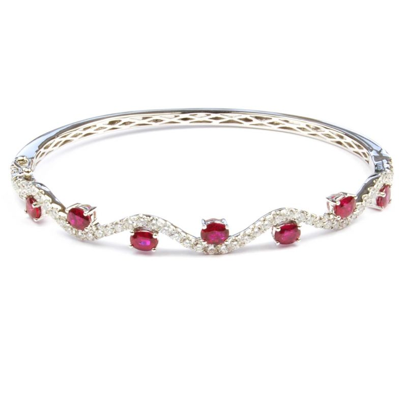 Ruby & Diamond Wave Bangle In 18 Carat White Gold
