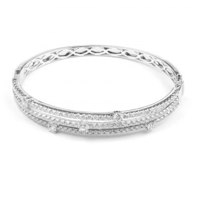 Three Row Diamond Half Hoop Bangle