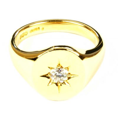 Diamond Set 189 Carat Yellow Gold Signet Ring