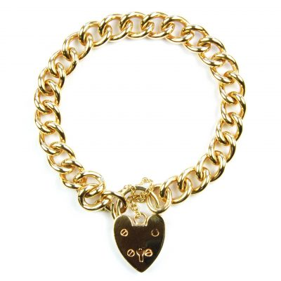 Heavy 9 Carat Yellow Gold Curb Link Bracelet