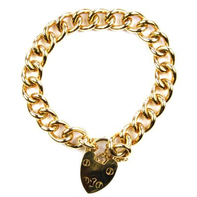 Heavy 9 Carat Yellow Gold Curb Link Bracelet 43.8gms