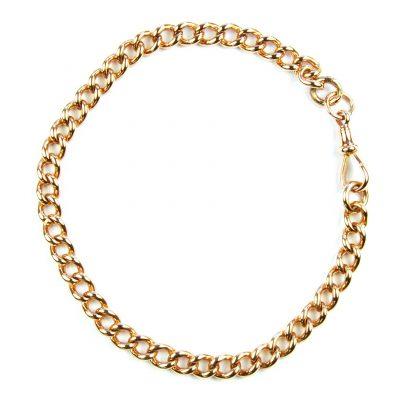 Antique 9 Carat Rose Gold Curb Link Bracelet