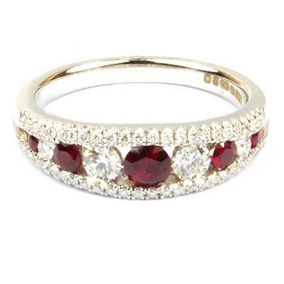 Ruby & Diamond Half Hoop Ring