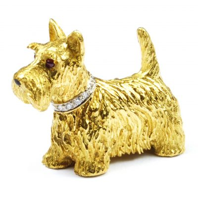 18 Carat Gold 'Westie' Dog Brooch