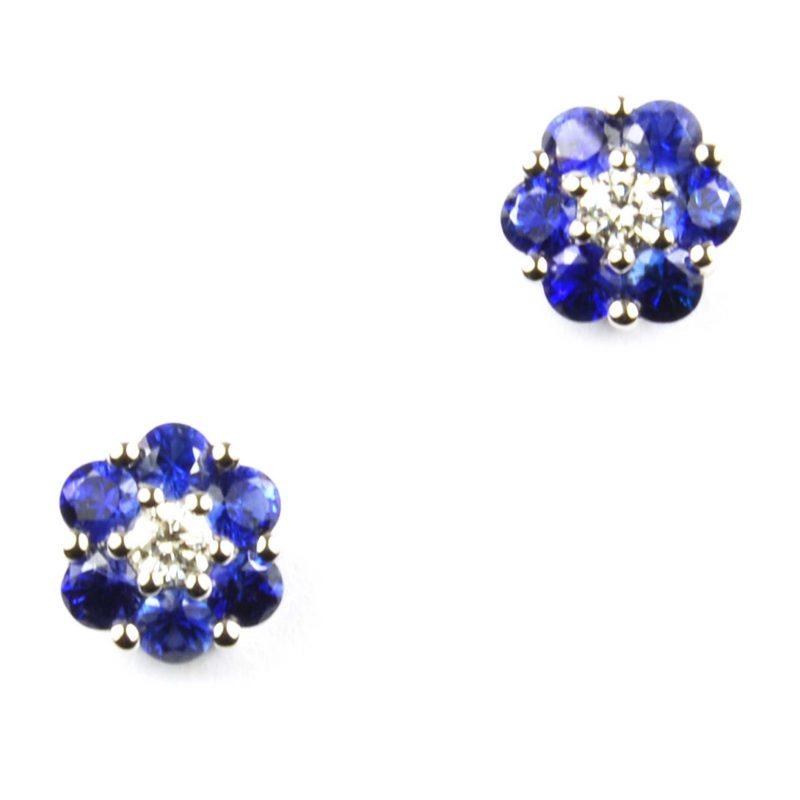 Sapphire & Diamond Stud Earrings