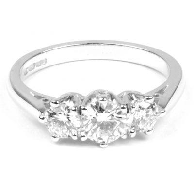 Three Stone Diamond Engagement Ring 1.05cts