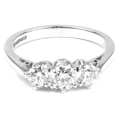 Three Stone Diamond Engagement Ring 0.95 cts