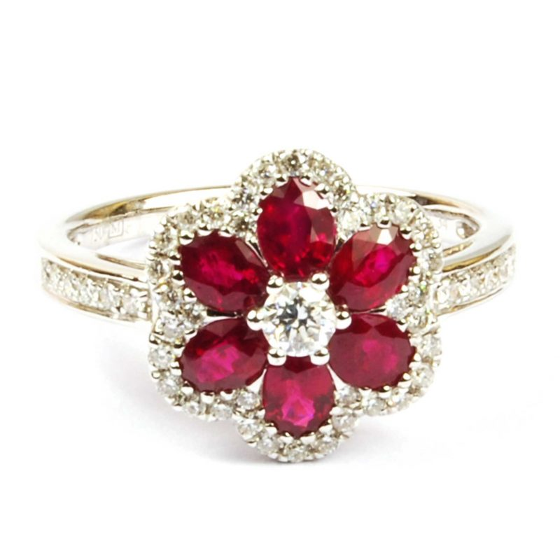 Ruby & Diamond Floral Cluster Ring