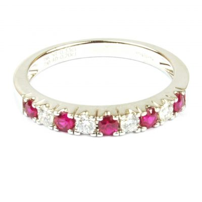 Ruby& Diamond Half Eternity Ring