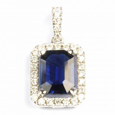 Sapphire & Diamond Pendant in White Gold