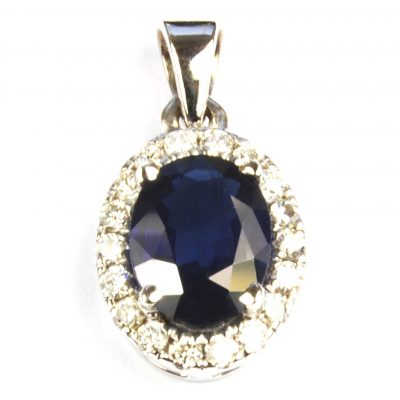 Oval Sapphire & Diamond Cluster Pendant in White Gold
