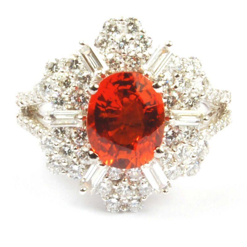 Orange Sapphire & Diamond Cluster Ring